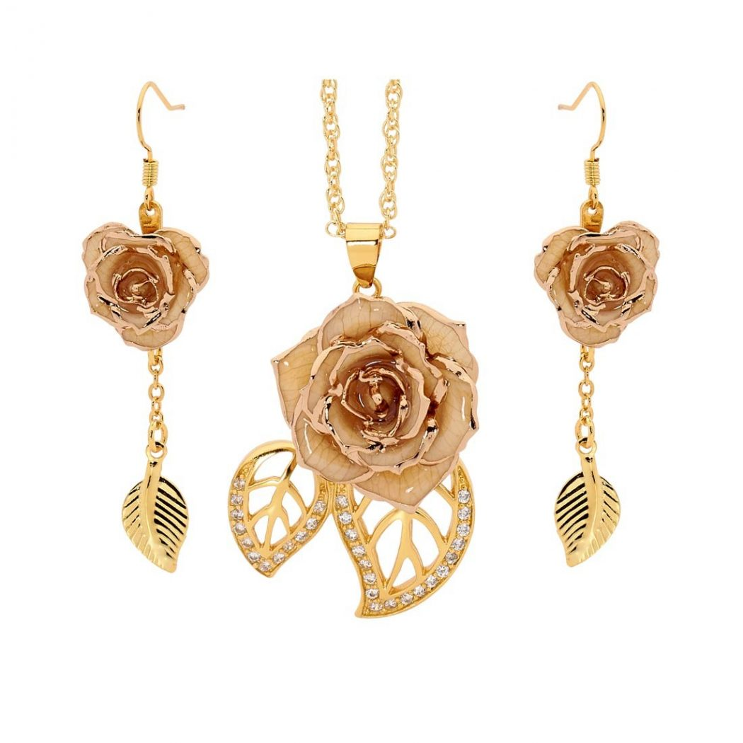 white-glazed-rose-jewelry-set-in-leaf-theme Eternity Rose As a Perfect Romantic Gift to Express Your True Love