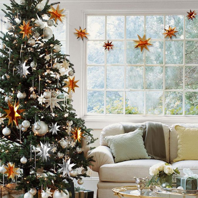 Christmas-tree-with-3D-stars-675x675 Top 10 Christmas Decoration Ideas & Trends 2021/2022