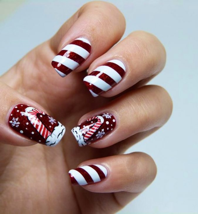 Festive-candy-nail-art-675x731 Top 7 Christmas Winter Nail Design Ideas 2019
