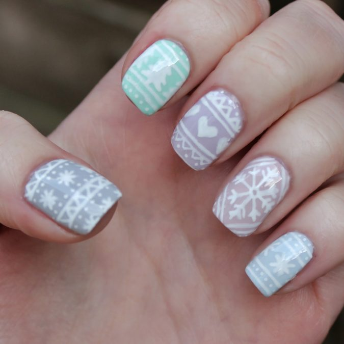 Pastel-Jumper-Prints-Ugly-Christmas-Sweater-675x675 Top 7 Christmas Winter Nail Design Ideas 2019
