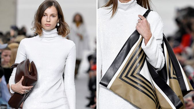 Silk-Scarves-celine_spring2018-Paris-Fashion-Week-675x380 +25 Catchiest Scarf Trends for Women in 2018