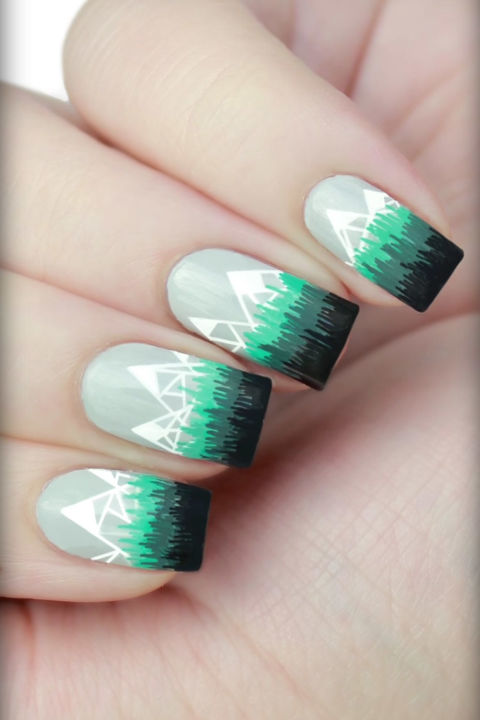Snowcapped-mountains-nail-art Top 7 Christmas Winter Nail Design Ideas 2018-2019