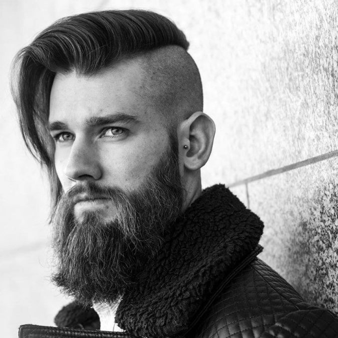 Undercut-with-Side-Swept-Hair-and-Beard-men-hairstyle-2-675x675 6 Most Edgy Hairstyles For Men in 2018