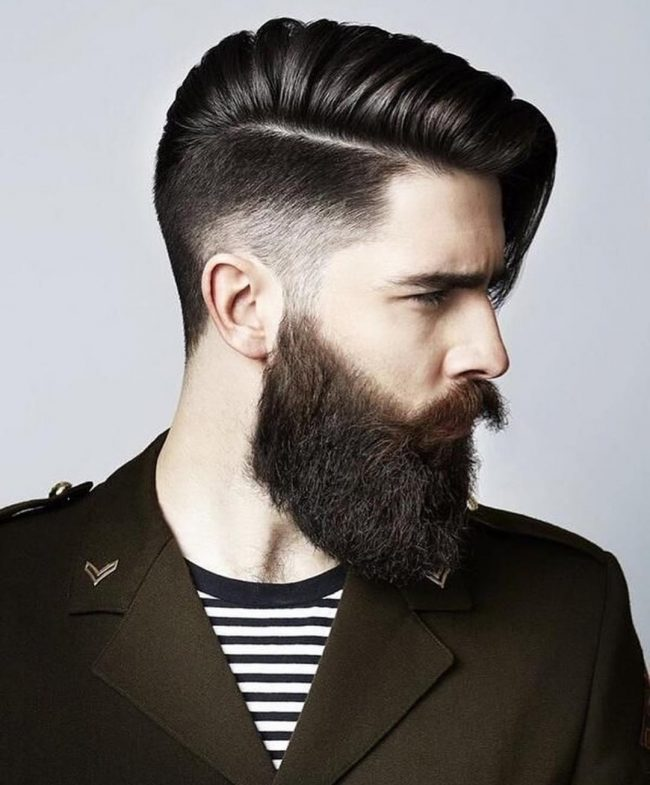 Undercut-with-Side-Swept-Hair-and-Beard-men-hairstyle 6 Most Edgy Hairstyles For Men in 202020