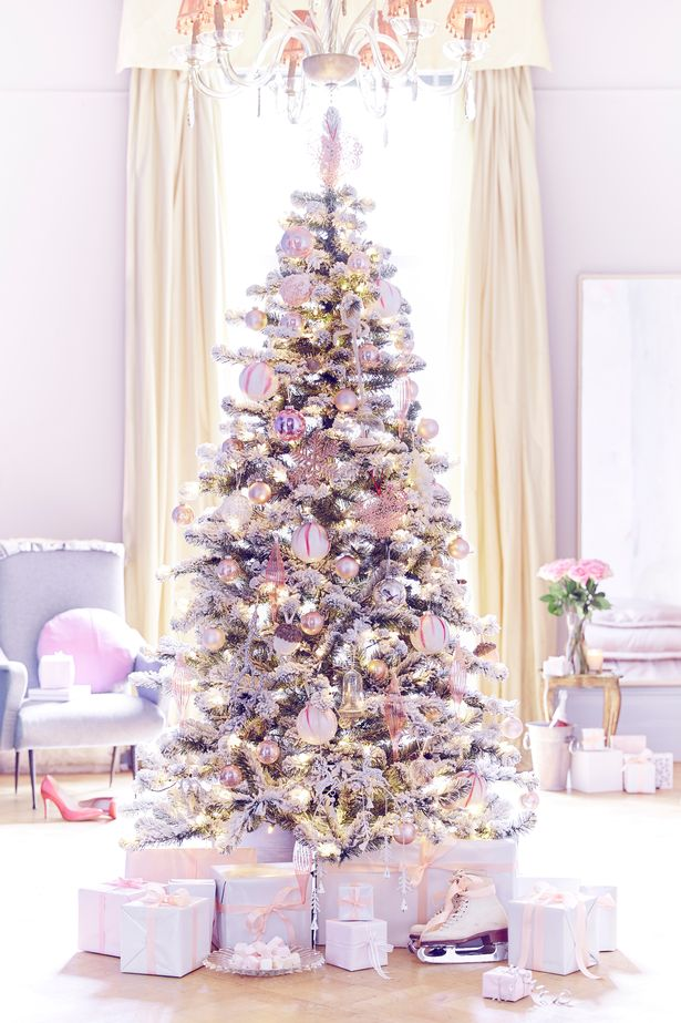 white christmas tree with pink and purple and