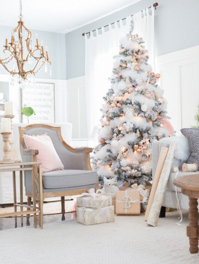 white christmas tree with pink decoration 675x893 top 10 christmas - Pink Christmas Decorations Ideas