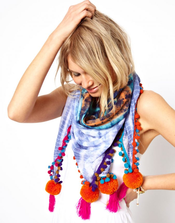 asos-multi-tie-dye-pom-scarf-675x861 +25 Catchiest Scarf Trends for Women in 2020