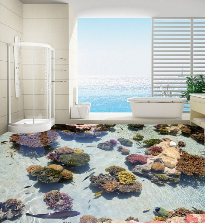 bathroom-with-3D-wallpapers-675x735 Top 10 Master Bathrooms Design Ideas for 2018