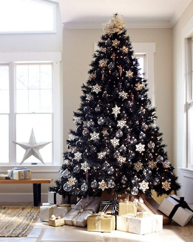 black-christmas-trees-with-white-and-gold-decoration-675x844 Top 10 Christmas Decoration Ideas & Trends 2021/2022