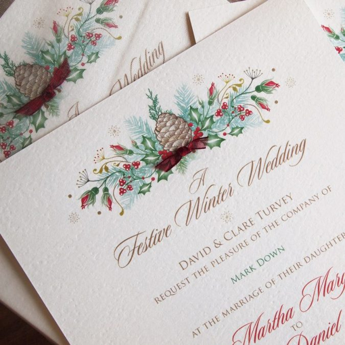 christmas-wedding-invitation-675x675 8 Festive Tips for a Christmas-Themed Wedding