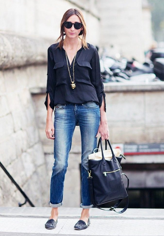 best outfit with navy blue top and denim jeans for girls