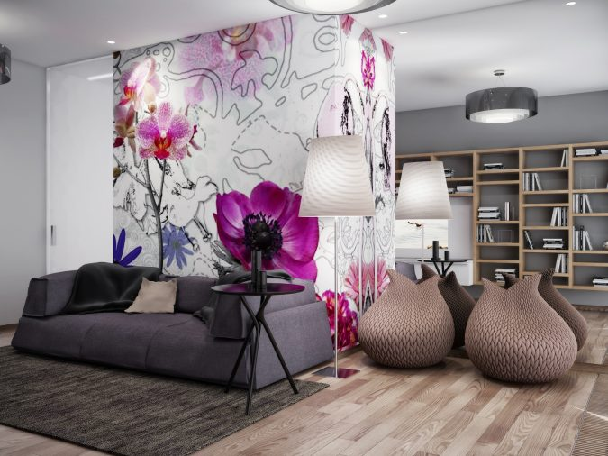 pink-white-gray-living-room-floral-wallpaper-675x506 Top 10 Best Summer Decor Ideas for 2018