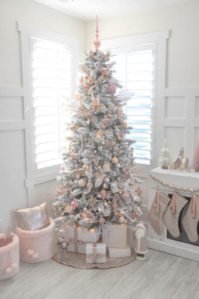 white christmas with pink decorations and gold lights
