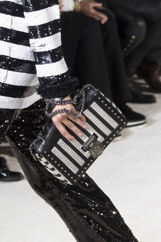 Striped-Monochrome-Bag-Balmain-675x1015 20+ Newest Handbag Trends in 2018