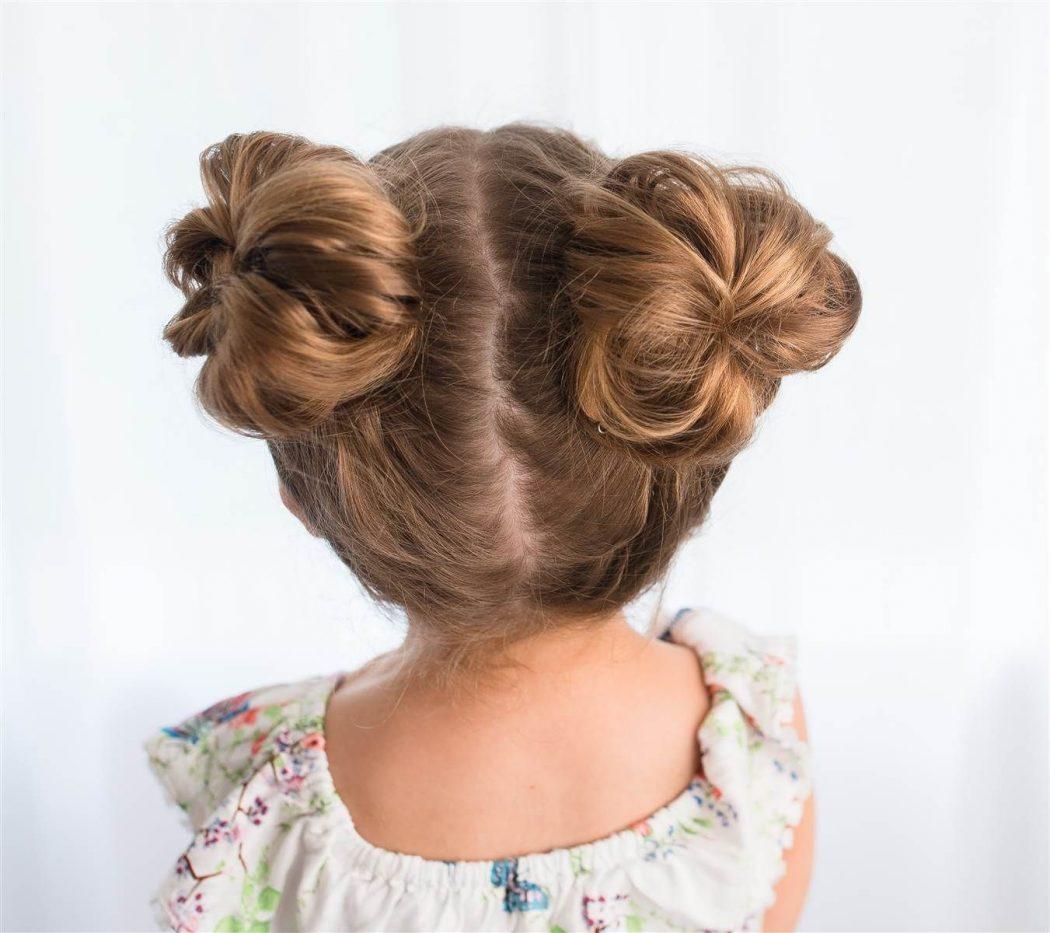Прически рогалики для девочек пучки