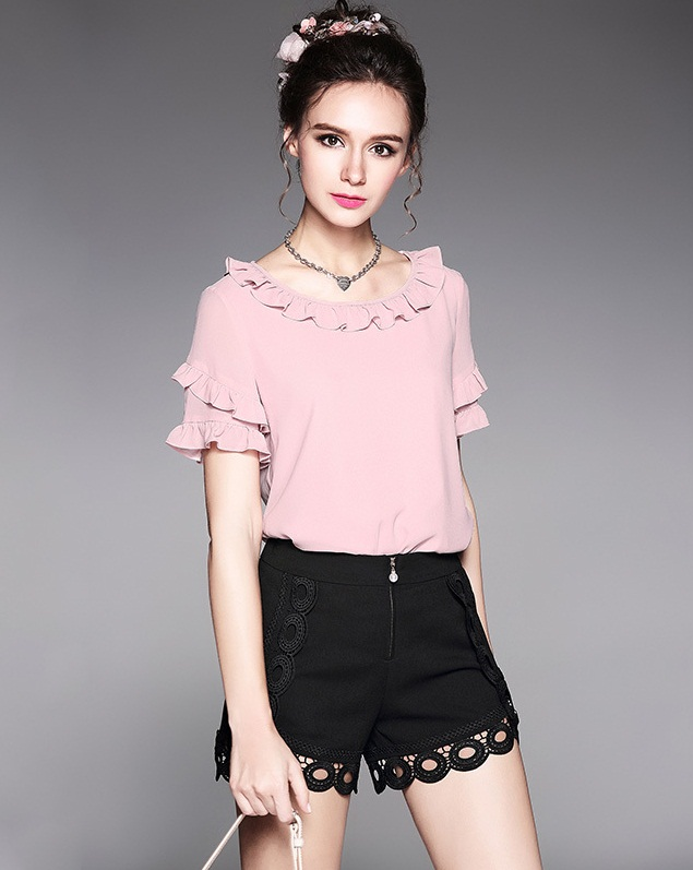 2-Piece-Sets-Pink-Ruffles-Chiffon-Top-and-Black-Lace-Short-women-Outfit-1 Top 10 Lovely Spring & Summer Outfit Ideas for 2018