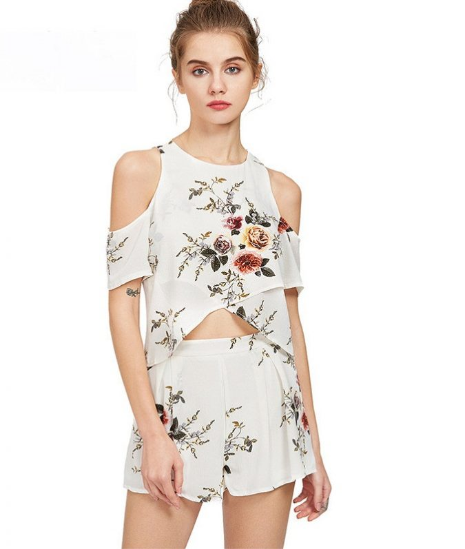 2-pieces-Outfit-Chiffon-Off-Shoulder-Crop-Top-Short-Pants-women-outfit-675x797 Top 10 Lovely Spring & Summer Outfit Ideas for 2020