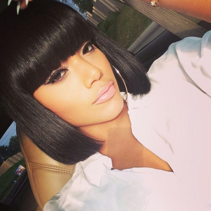 Bob-Hairstyle-with-Edgy-Bangs-for-black-women-675x675 TOP 10 Stylish Bob Hairstyles for Black Women in 2018