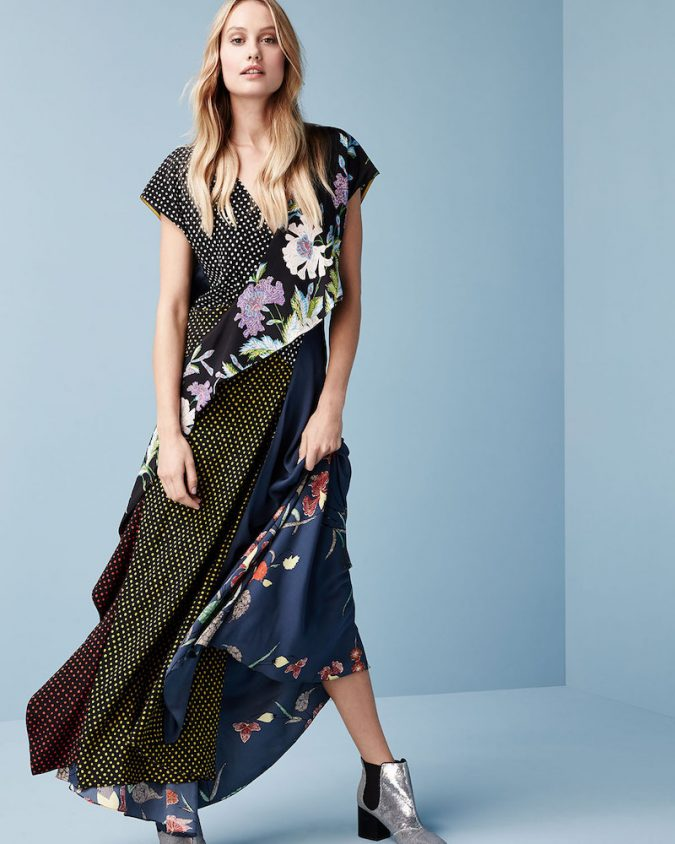 Diane-von-Furstenberg-Draped-Mixed-Print-Floral-Dot-Silk-Maxi-Dress-675x844 12 Outdated Fashion Trends Coming Back in 2020