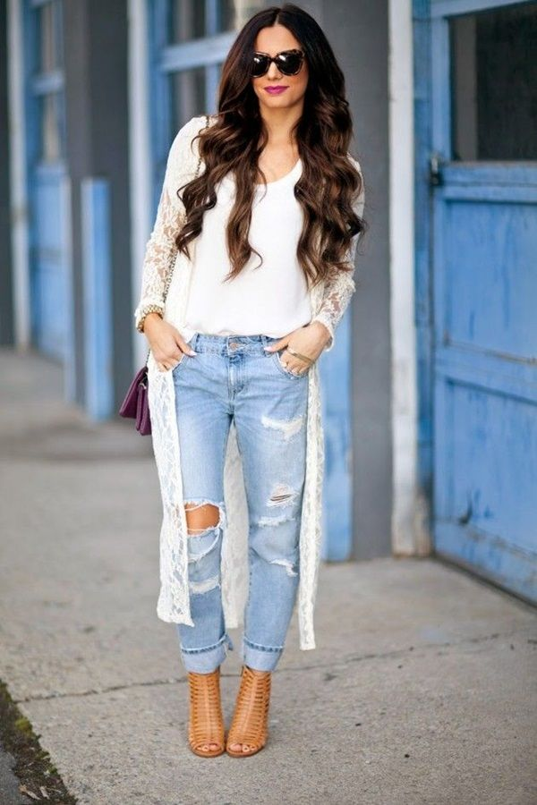 Jeans-and-t-shirt-and-long-cardigan-women-summer-outfit Top 10 Lovely Spring & Summer Outfit Ideas for 2020