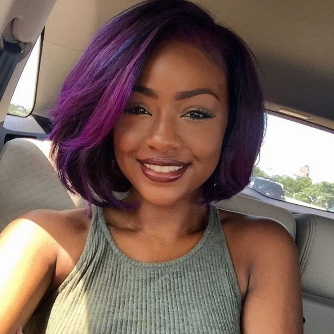 Short-purple-Bob-hairstyle-for-black-women-675x675 TOP 10 Stylish Bob Hairstyles for Black Women in 2018