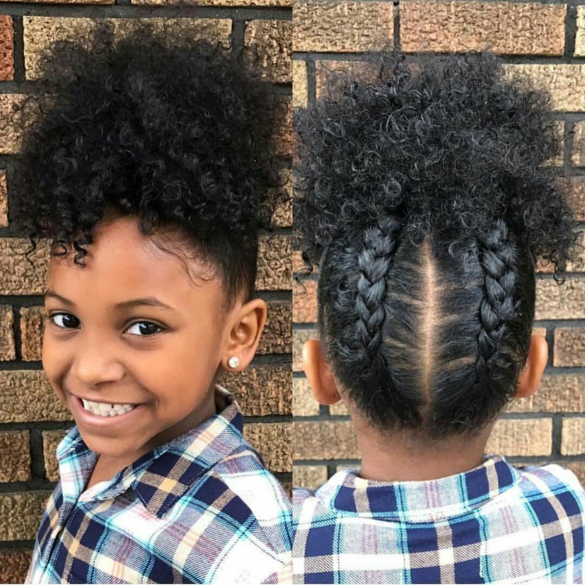 Upper-bun-hairstyle Top 10 Cutest Hairstyles for Black Girls in 2020
