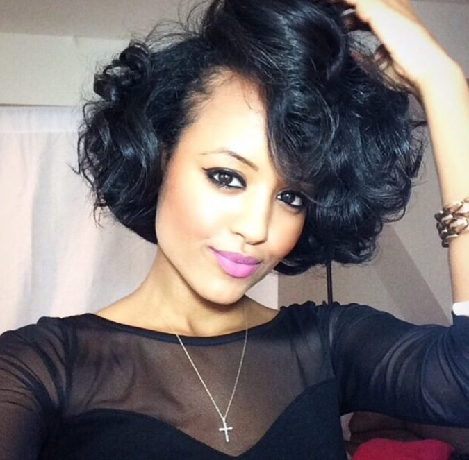 Wide-curly-bob-with-volume-for-black-women-2-675x663 TOP 10 Stylish Bob Hairstyles for Black Women in 2020