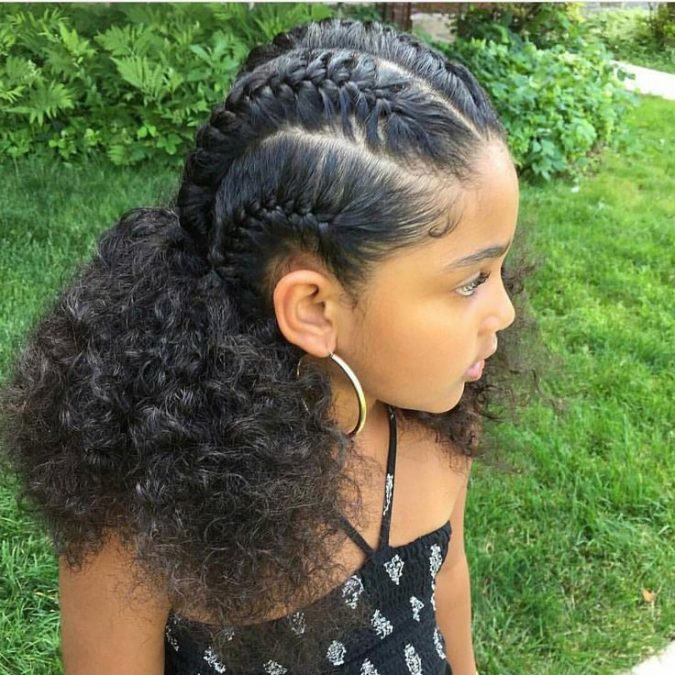 braid-with-ponytail-hairstyle-675x675 Top 10 Cutest Hairstyles for Black Girls in 2018