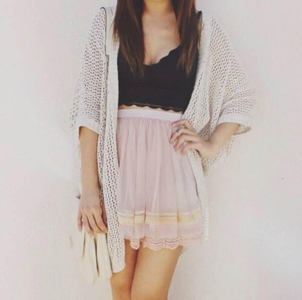 bta-top-and-pink-skirt-and-cardigan-summer-women-outfits Top 10 Lovely Spring & Summer Outfit Ideas for 2020