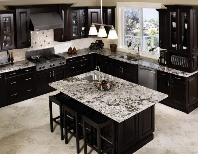 dark-Marble-kitchen-countertops-675x524 Top 10 Hottest Kitchen Design Trends in 2018
