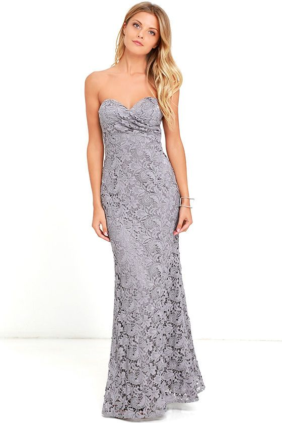 grey-maxi-lace-strapless-dress Top 10 Lovely Spring & Summer Outfit Ideas for 2018