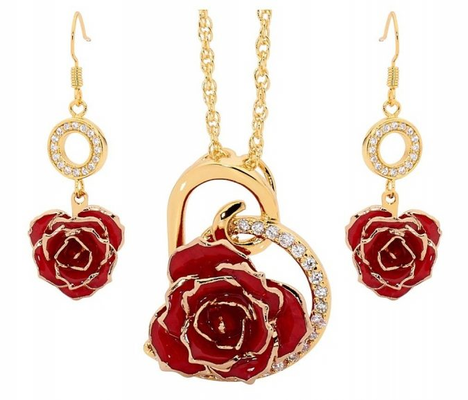 red-glazed-rose-pendant-earrings-set-gift-1-675x578 Top 10 Best Wedding Anniversary Gift Ideas for 2020 (Updated List)