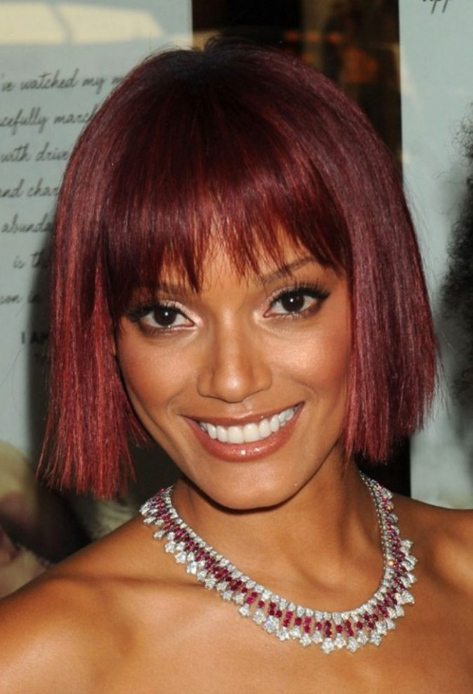 short-Bob-Hairstyle-with-Edgy-Bangs-for-black-women-675x991 TOP 10 Stylish Bob Hairstyles for Black Women in 2018