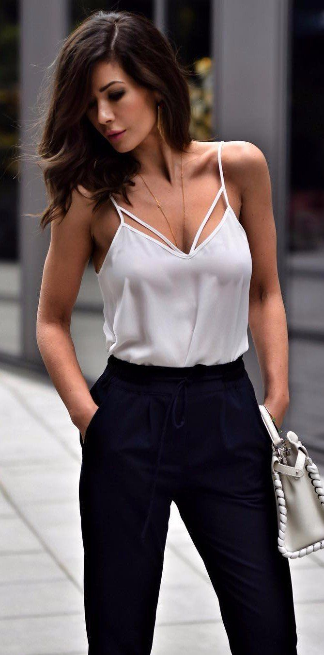 silky-bra-and-high-waist-pants-women-summer-outfit Top 10 Lovely Spring & Summer Outfit Ideas for 2018