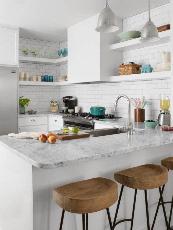 small-white-kitchens-with-open-cabinets-and-colorful-dishware-675x900 10 Outdated Kitchen Trends to Avoid in 2018