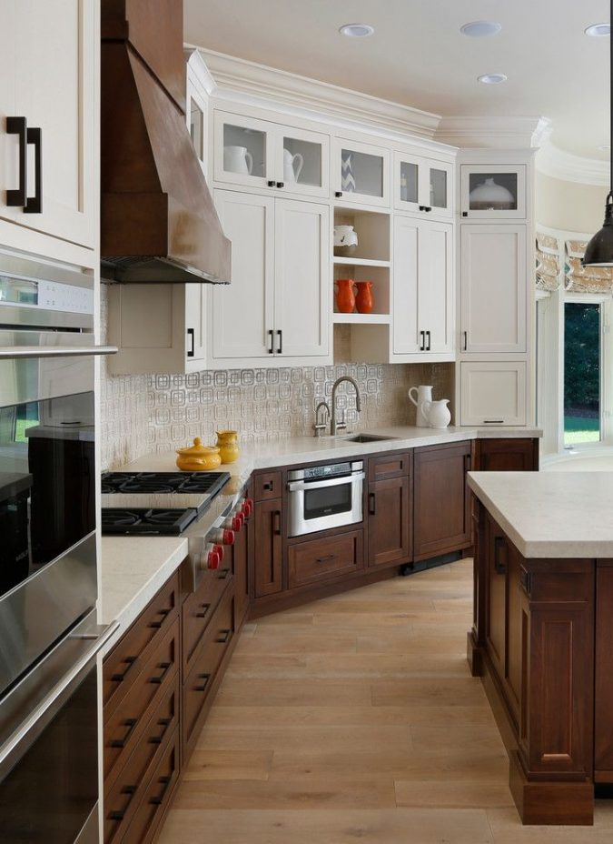 two-toned-kitchen-wood-cabinets-675x928 11 Tips on Mixing Antique and Modern Décor Styles