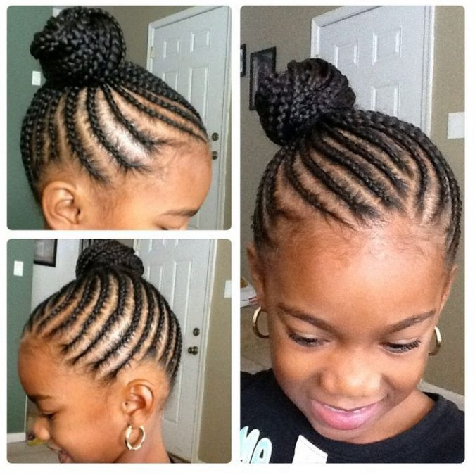 upper-braided-bun-black-little-girl-hairstyle-675x675 Top 10 Cutest Hairstyles for Black Girls in 2018