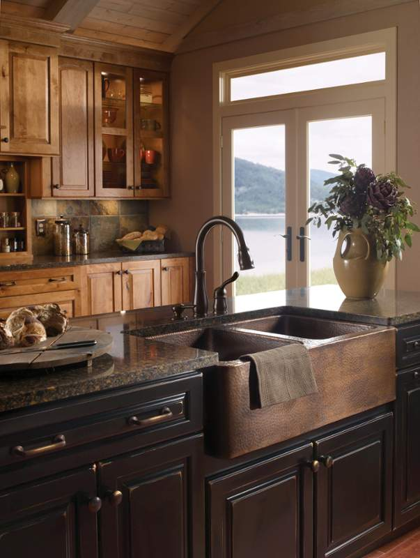 Kitchen-with-copper-farm-sink 10 Outdated Kitchen Trends to Avoid in 2018