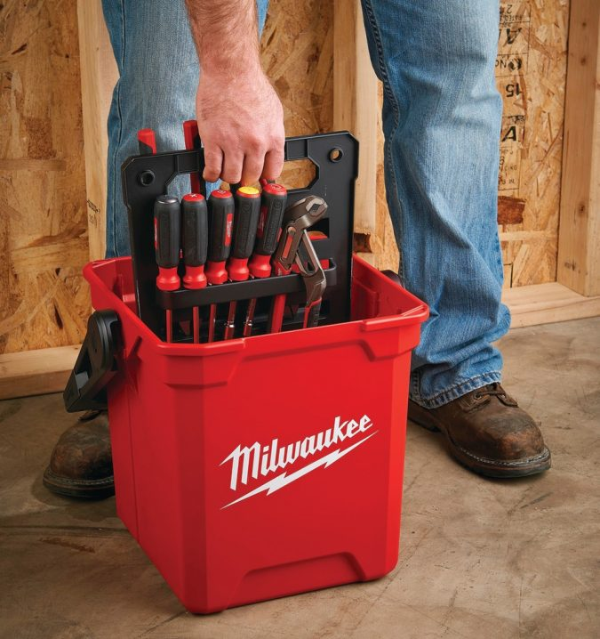 Milwaukee-13-inch-Jobsite-Work-Box-2-675x718 Top 10 Best Construction Tools List in 2018 ... [with pictures]