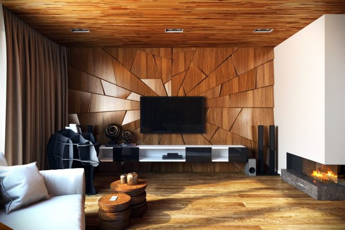 artistic-wood-living-room-home-decoration-675x450 10 Wood Floors Design Ideas for Living Rooms