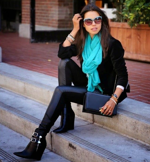 colored-spring-scarf-winter-outfit 80 Elegant Fall & Winter Outfit Ideas 2020