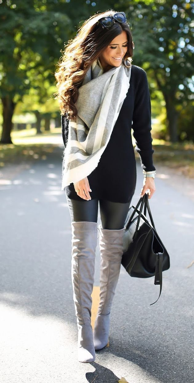 outfit-scarf-bag-winter-2018 80 Elegant Fall & Winter Outfit Ideas 2020