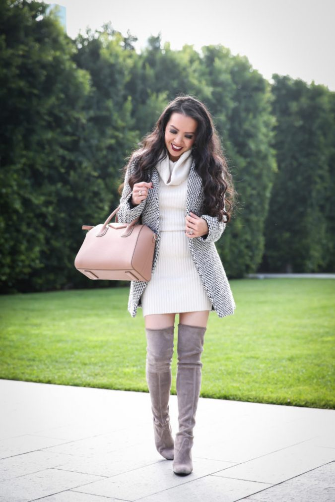 winter-outfit-Chicwish-Tweed-coat-sweater-dress-otk-boots-675x1012 80 Elegant Fall & Winter Outfit Ideas 2020