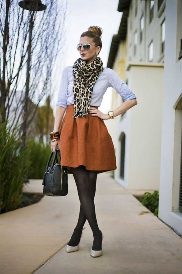 winter-outfit-animal-printed-scarf 80 Elegant Fall & Winter Outfit Ideas 2020