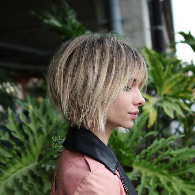 Messy-Inverted-Bob-with-Eye-Grazing-Bangs-675x675 Best 10 Trendy Short Hairstyles With Bangs
