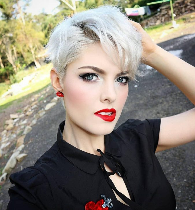 Platinum-Blonde-hairstyle-Pixie-with-Long-Side-Fringe-675x726 Best 10 Trendy Short Hairstyles With Bangs