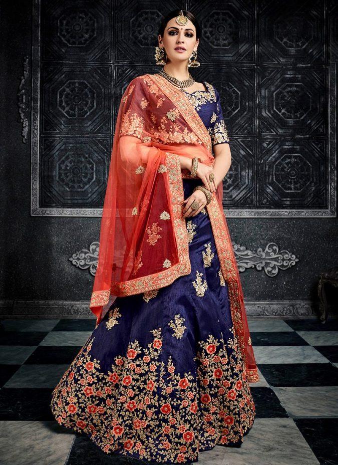 blue-lehenga-red-choli-675x928 Shop Perfect Lehenga Online [Top Lehenga Saree Designs]