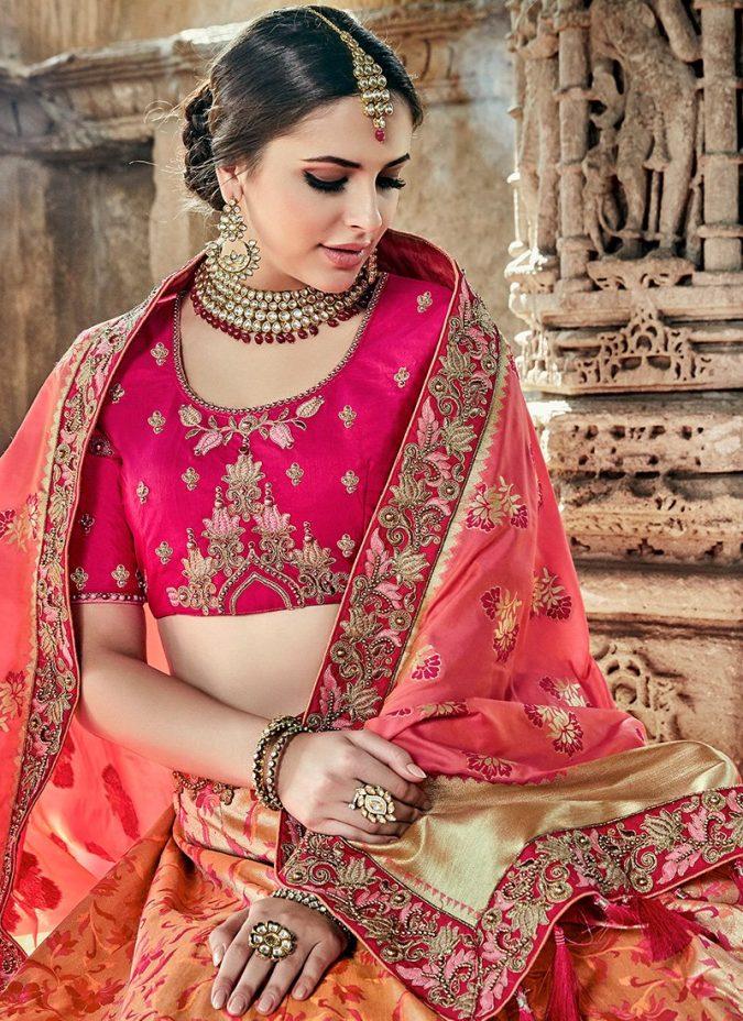 lehenga-pink-choli-675x928 Shop Perfect Lehenga Online [Top Lehenga Saree Designs]