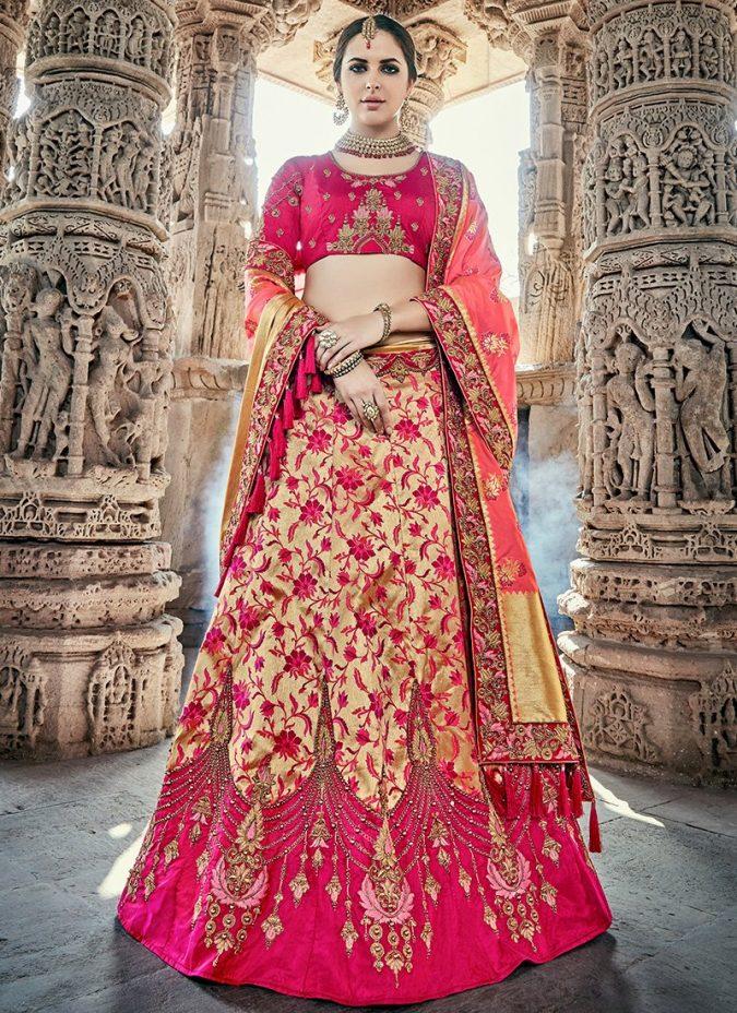 pink-and-gold-lehenga-675x928 Shop Perfect Lehenga Online [Top Lehenga Saree Designs]
