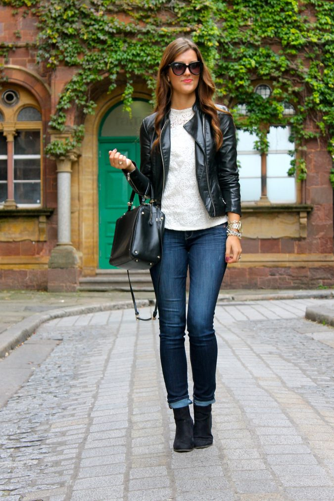 school-outfits-Leather-Jacket-1-675x1013 Top 12 Trending Back-to-School Outfits 2018/2019